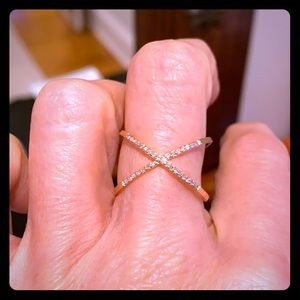 Genuine 14k gold X ring with diamonds